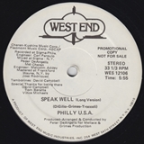 PHILLY U.S.A. ‎/ SPEAK WELL